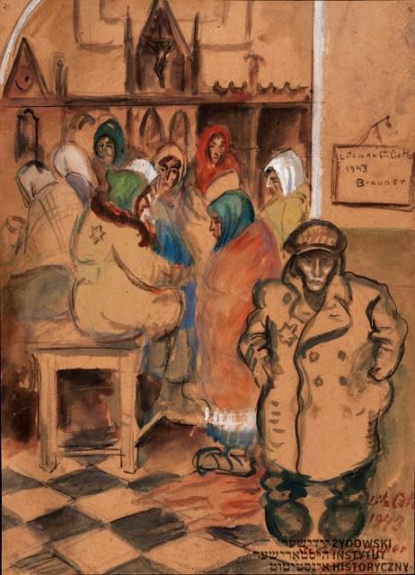 Rysunek Icchoka (Wincentego) Braunera zLitzmannstadt Ghetto, zezbiorów Żydowskiego Instytutu Historycznego im.Emanuela Ringelbluma wWarszawie