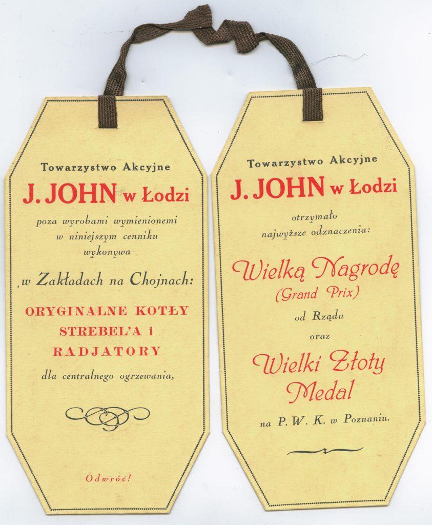 Podwójna zakładka reklamowa Towarzystwa Akcyjnego J. Johna wŁodzi